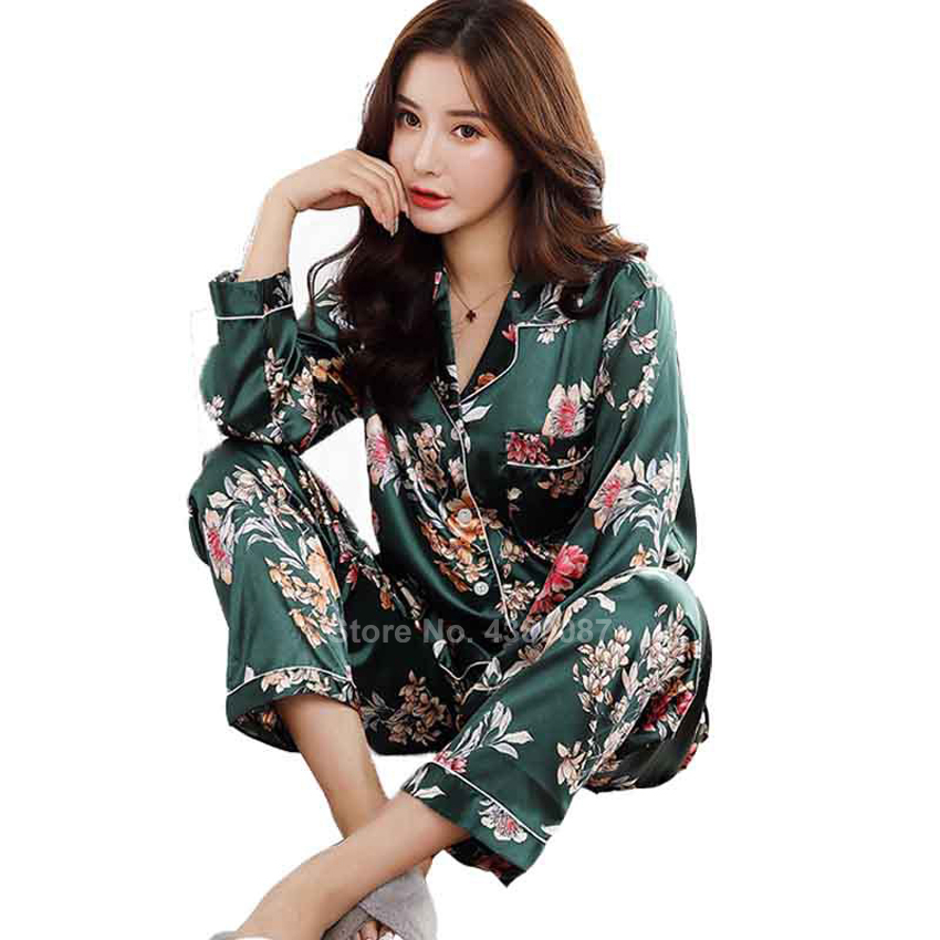 Japanese Style Silk Sleepwear Set For Women Floral Smooth Comfy Home Wear Long Sleeve Pajamas Bathing Yukata Kimono Nightgown