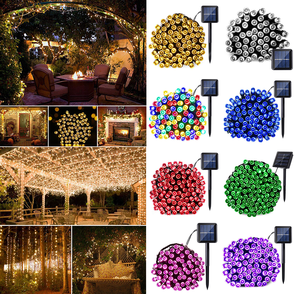 Solar Power LED String Light Wedding Decorative Ambiance Light Sensor Control Waterproof Outdoor Party Home Decor 60-200LED D30