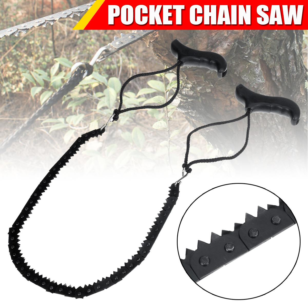 Portable 48 Inch High Reach Tree Limb Hand Rope Chain Saw Blades On Both Sides Wire Saw Camp Hike Outdoor Hunt Wood Cutting Tool
