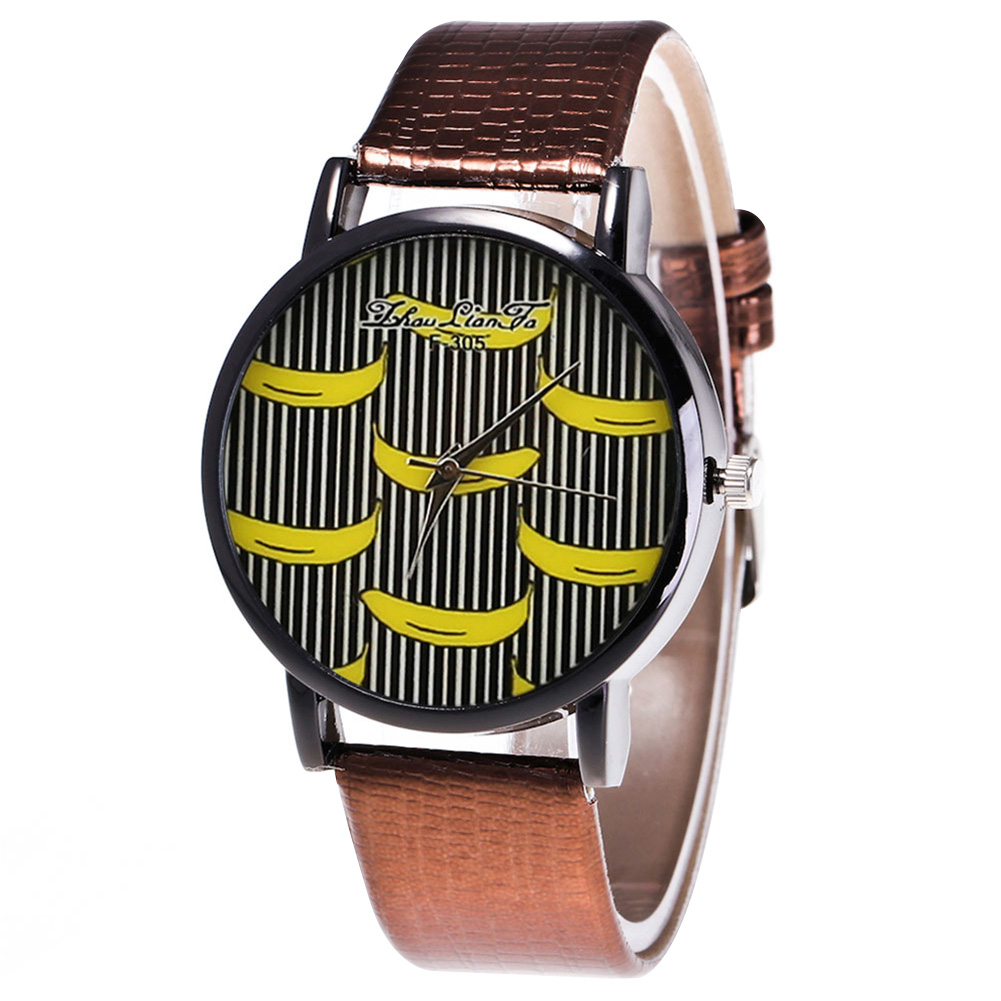 Fashion Quartz Watch Mens Women Couple Electronic Watch Banana With PU Wrist Strap LL@17