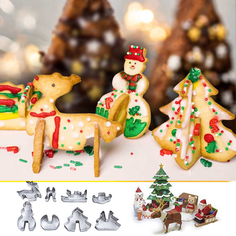 8Pcs Cookie Cutter Cake Mold  Biscuit Fondant Christmas  Xmas Decor Mold