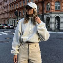 цена 2019 Women Coat Ladies Autumn Winter Fashion Loose Fleece Coats Jumper Coat Long Sleeve White Pullover Jackets Crop Tops White