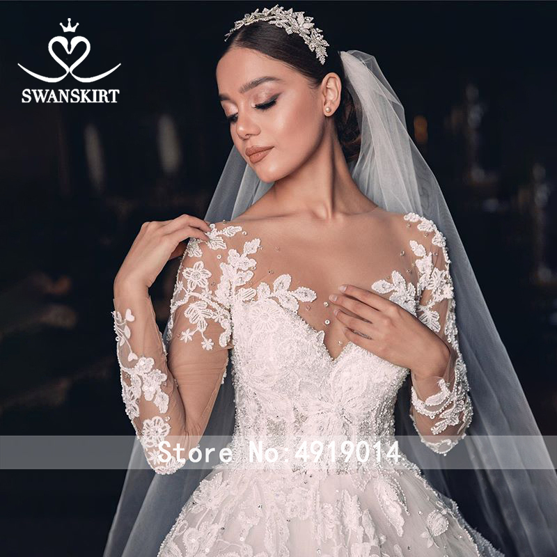 Image 3 - Luxury Wedding Dress 2020 Swanskirt Beaded Appliques Ball Gown Plus Size Long Sleeve Flowers Bridal dress Vestido de noiva QY01-in Wedding Dresses from Weddings & Events