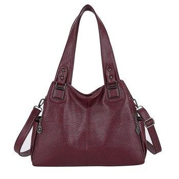 Large Capacity Female Handbag Casual Totes Hobos Women Shoulder Bags Soft Vintage Leather Hobo Bags Lady Crossbody Messenger Bag