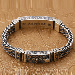 Image 3 - Pure Silver Sterling 925 Solid Silver Religious Buddha Lection Braided Lock S925 Bangle Bracelet (HY3A)
