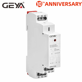 цена на GEYA GR8 AC230V DC24V Intermediate Relay Auxiliary Relay 8A 16A SPDT Electronic Relay Switch