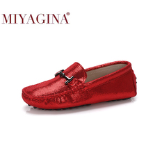 Moccasins 100%Genuine-Leather Footwear Flats Shoes Loafers Female Women 7-Colors Casual