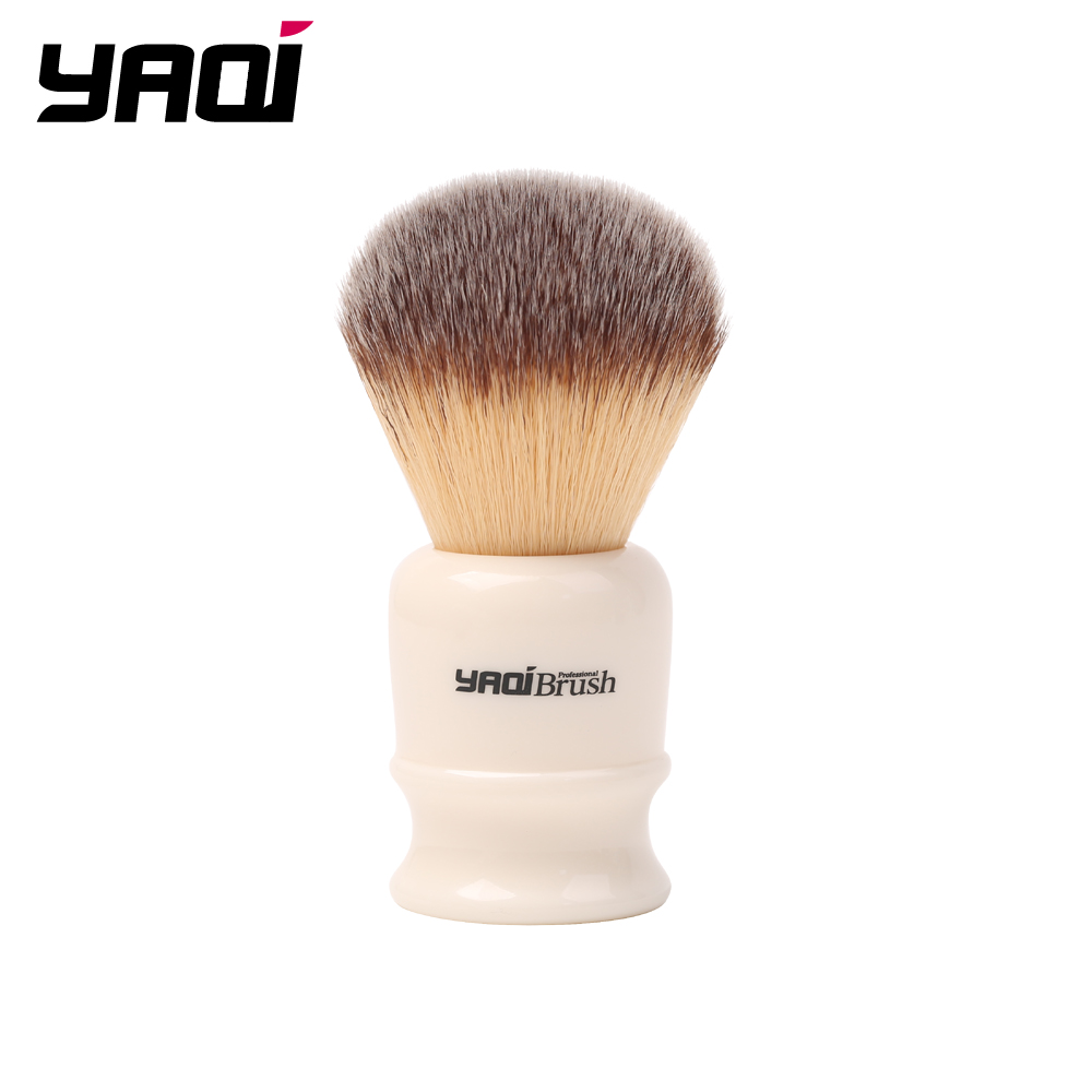 Yaqi 22mm White Handle Yellow Synthetic Hair Knot Wet Shaving Brush