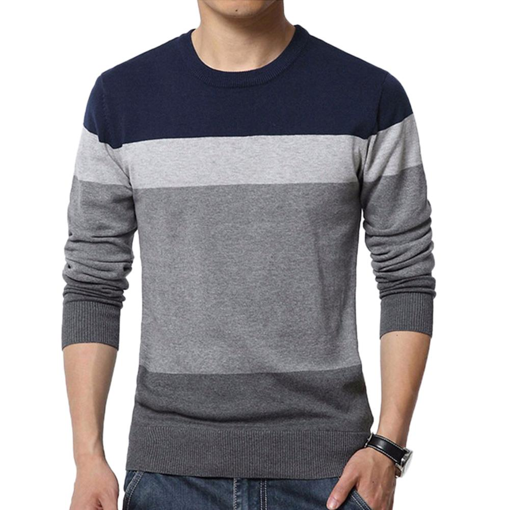 Chic Men Sweaters Color Block O Neck Long Sleeve Pullover Sweaters Men's Blouse Knitted Sweater Pull Homme Pullover Sweaters
