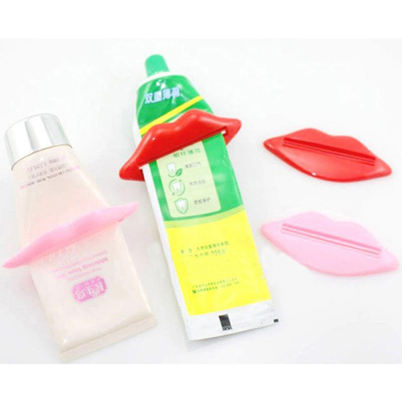 2Pcs Bathroom Lip Kiss Toothpaste Dispenser Tooth Paste Tube Squeezer Useful Toothpaste Rolling Holder For Home Bathroom