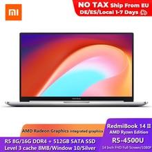Ноутбук Xiaomi RedmiBook 14 II AMD Ryzen Edition, AMD Ryzen 5 4500U 8/16 ГБ DDR4 512 Гб SSD, 14-дюймовый FHD экран, ноутбук серебристый