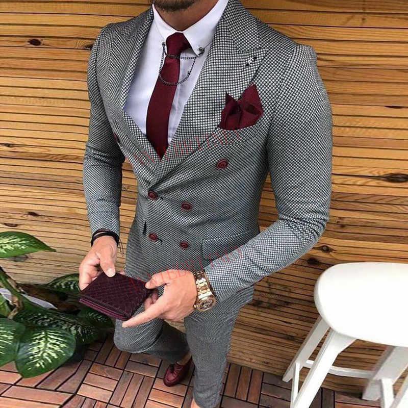 최신 코트 바지 디자인 더블 브레스트 남자 정장 슬림 맞는 패션 웨딩 정장 남자 댄스 파티 신랑 턱시도 자켓 바지 세트