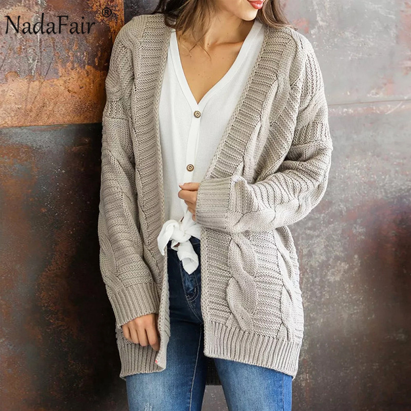 Nadafair Winter Knit Oversized Cardigan Women Twist Solid Casual Plus Size Knitted Cardigan Pull Femme Outerwear