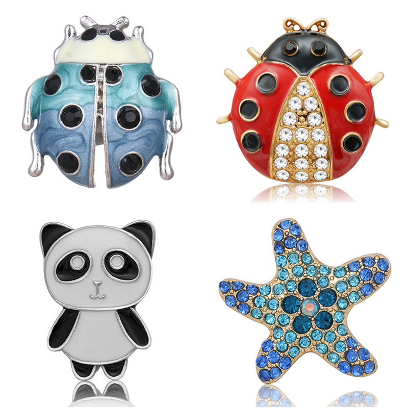 Beauty Lovely Ladybug Rhinestone Panda Starfish Metal 30mm Snap Buttons Big Style Fit 18mm Snap Jewelry Wholesale KZ3259