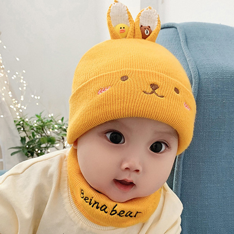 Wool Baby Scarf Hat Set Autumn  Winter Chidren Cute Rabbit Ear Neck Head Cap Warm Two-Piece Set