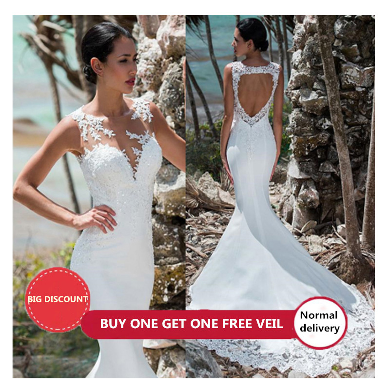 LORIE Sexy Mermaid Wedding Dress Sleeveless Lace Appliqued Illusion Back Boho Wedding Gown Long Train Bride Dress