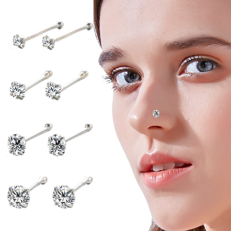 2PCS 925 Sterling Silver Nose Studs Piercing 1.5mm/2mm/2.5mm/3mm Rhinestones CZ Stone Ear Helix Body Septum Piercing Jewelry