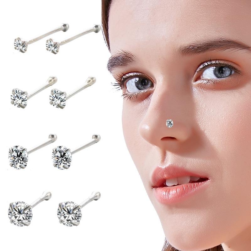 2PCS 925 Sterling Silver Nose Studs Piercing 1.5mm/2mm/2.5mm/3mm Rhinestones CZ Stone Ear Helix Body Septum Piercing Jewelry