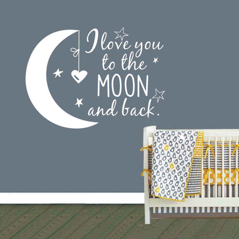 I Love You To The Moon and Back Wall Vinyl Decal Decor Words Sticker Nursery Art