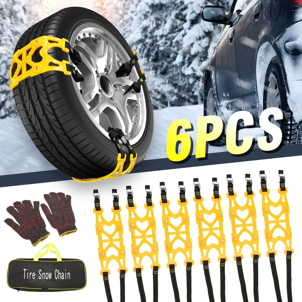 6pcs Winter Car Tire Snow Chains Adjustable Anti-skid Tire Snow Chains Wheel TPU Chains For Truck Car SUV 185-255mm With Gloves