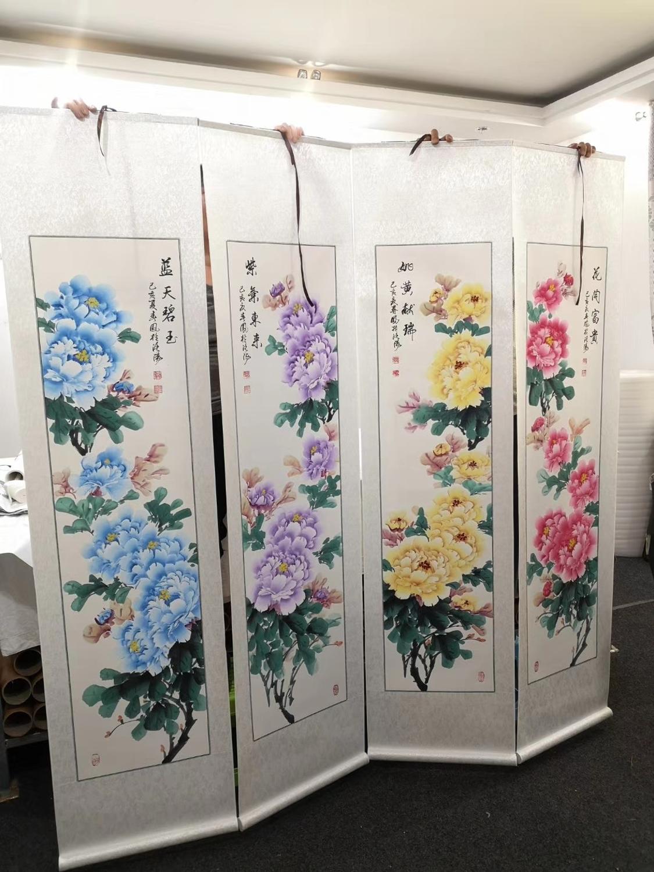 4 pièces ART d'affaires haut bureau à domicile mur art décoratif de bon augure bonne chance peint à la main riche pivoine fleurs FENG SHUI ART peinture