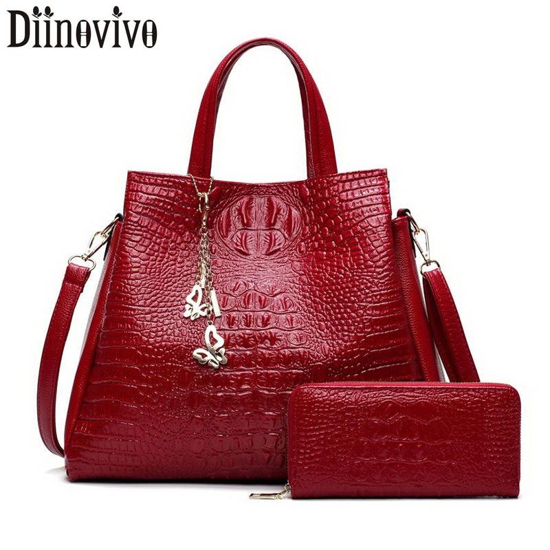 DIINOVIVO 2 Sets Crocodile Leather Purses And Handbags Women Shoulder Bags Messenger Ladies Casual Tote WHDV1227
