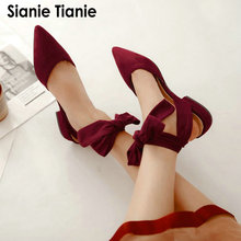 Sianie Tianie 2020 여름 오픈 백 크로스 붕대 발목 스트랩 발레 플랫 여성 신발 지적 발가락 여성 샌들 사이즈 33 48