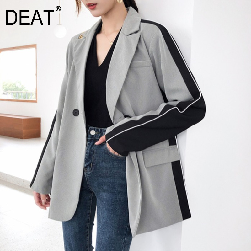 DEAT 2019 New Autumn And Winter Fashion Turn-down Collar Full Sleeves Double Buttons Gray Contrast Colors Blazer WJ32802XL