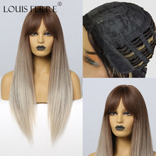Straight Wigs Fake-Hair Blonde Louis Ferre Women Cosplay Ombre Bang Heat-Resistant Brown