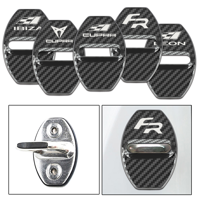 4 Pcs/Set Car Carbon Fiber Pattern Door Lock Cover Caps For Seat FR+ Leon Ibiza Cupra Altea Belt Racing Car Styling Accessories