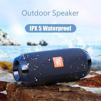 цена на Wireless Bluetooth Bass Speaker Waterproof FM sport Subwoofer portable stereo column  with Mic Music Surround Boombox USB