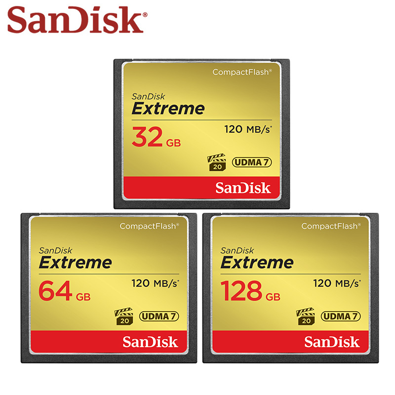 SanDisk Extreme Compact Flash Card 32GB 64GB 128GB up to 120MB/s Memory Card UDMA 7 VPG-20 Full HD Video CF Card for Camera