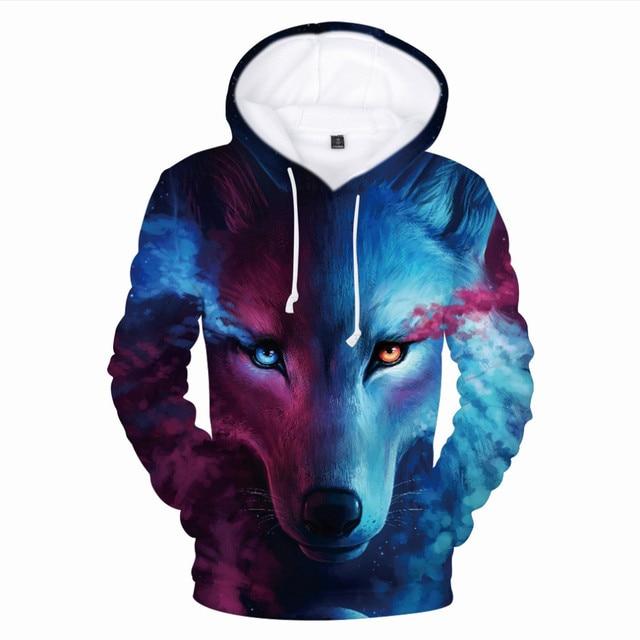 New Wolf 3D Printed Hoodies Men Women Boys Shinning Wolf Design Hoodie Sweatshirts Fashion Harajuku Jacket Coat Brand Clothes 2