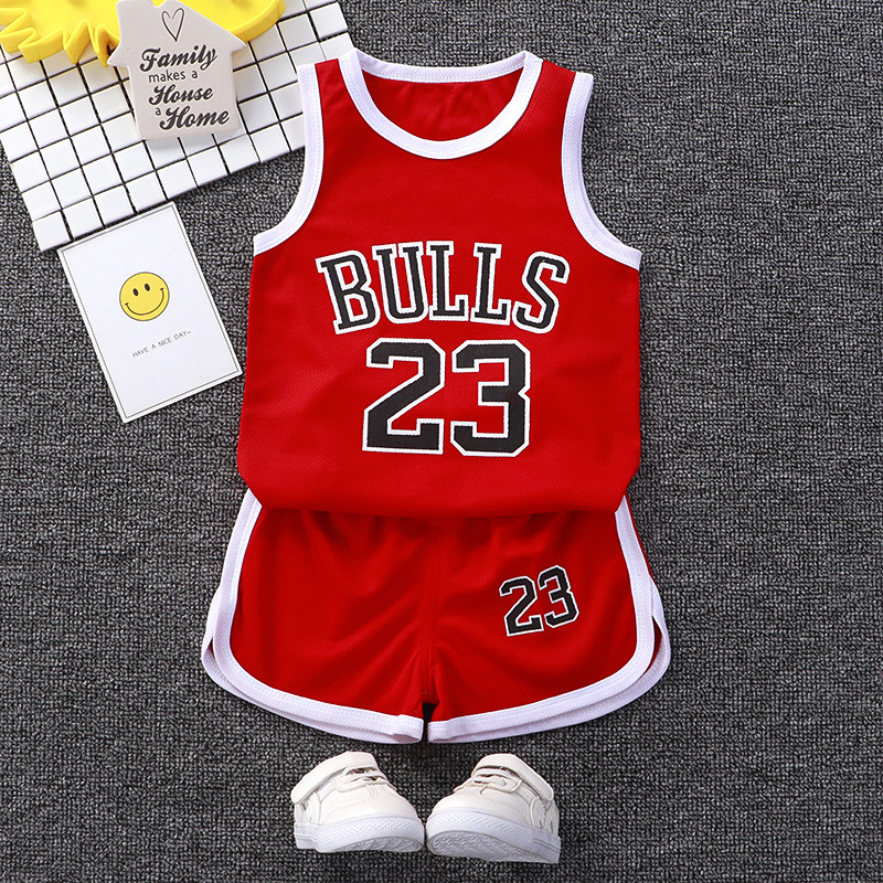 Summer Children's Sports Uniforms Suit Boys Short-sleeved Catoon Clothes Baby Sleeveless Basketball Uniforms Big Boy Clothes Set