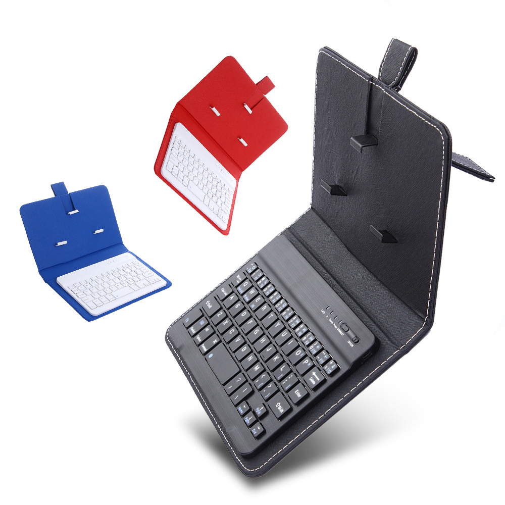 Universal Wireless Bluetooth Keyboard For Mobile Phone Case Desk Holder Portable Mini Keypad PU Leather Phone Cover Stand| |   - AliExpress