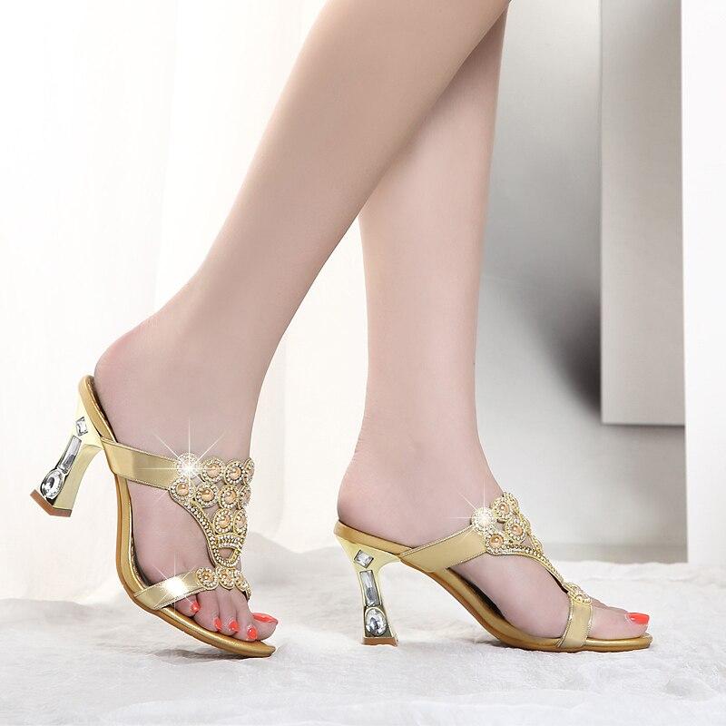 Шлепанцы; женская летняя обувь; модные шлепанцы из натуральной кожи на высоком каблуке с кристаллами и агатом; шлепанцы с открытым носком; пикантная женская обувь - 2
