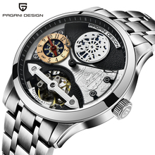 PAGANI DESIGN Men Watches Top Brand Tourbillon Mechanical Waterproof Stainless S