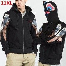 プラスサイズ大秋特大潮脂肪緩い風フード付きカーディガン外側ジャケットコート男性 10XL 11XL 9XL