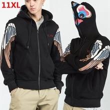 Plus Size Lớn Thu Lớn Triều Mỡ Rời Gió Có Mũ Trùm Đầu Cardigan Áo Khoác Ngoài Áo Khoác Nam 10XL 11XL 9XL