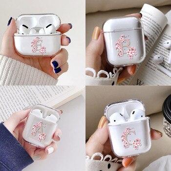De nombre inicial de la A la Z auriculares para Apple iPhone caja de carga para los AirPods Pro claro cubierta protectora Accesorios