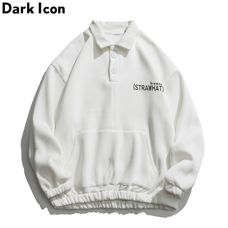 Dark Icon Turn-down Collar High Street Sweatshirts Men Hip Hop Men's Sweatshirts Fashion Sweatshirts for Men Streetwear Clothes