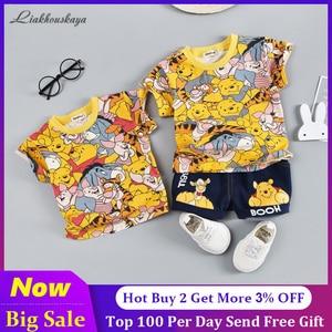 Girl Baby Clothing Sets 2020 Hot Sale Brand Cartoon Bear Children Summer Boys Girl Clothes Kids Set Cotton T-shit + Short Pants(China)