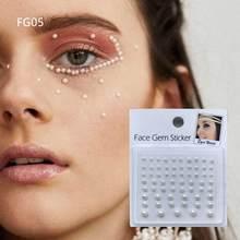 Fg05 falso vara de pérola branca, no rosto, gema, pontos bindi, beleza, diy, arte do corpo, acessórios, festival
