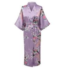 Kimono Pijama Sleepwear Wedding-Robe Bridesmaid Women Silk Purple Plus-Size Nightgown