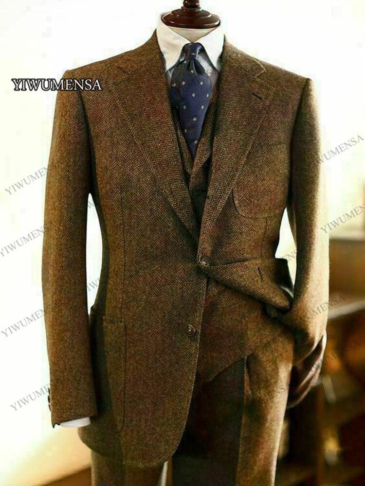 Slim Herringbone Masculino 2021 Wool Business Groom Suits Wedding Tweed Lapel Blazer Brown Mariage Homme Notch Fit Men Costume
