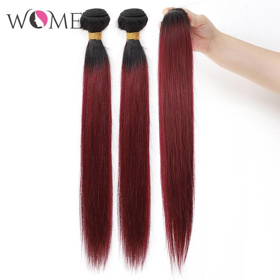 WOME/эффектом деграде(переход от темного к прямые волосы пряди предварительно цветной 1b/27 1b/30 1b/99j человеческие волосы пряди 1/3/4 шт. два тона волосы с разной направленностью кутикулы - Цвет: 1b 99j