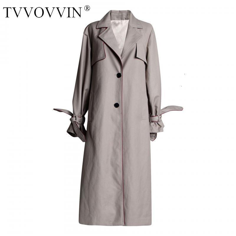 TVVOVVIN Women   Trench   Coat Long Sleeve Single Breasted Women Windbreaker Back Pleated Spliced Long Overcoat Women Long Coat X334