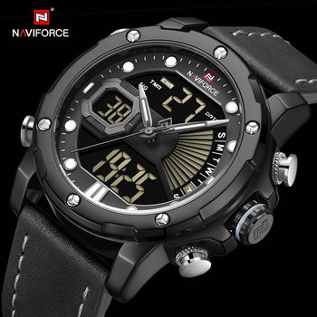 NAVIFORCE 9172 Men Dual Time Auto Date Analog Digital Watches with box
