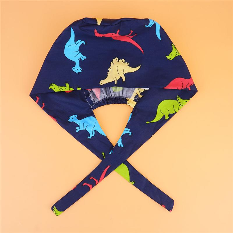 Dinosaurs Printed Surgical Strappy Hat Cotton Adjustable Doctor Nurse Cap Reusable Working Caps (Free Size)