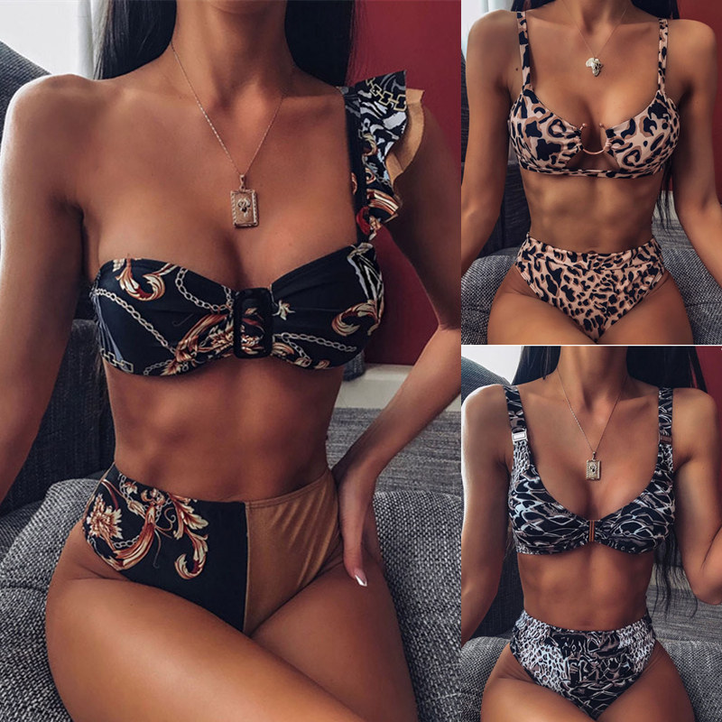 High Waist Bikini 2019 Sexy Swimwear Women Swimsuit Female Ruffle Thong Brazilian Bikini Set Biquini Bathing Suit Women
